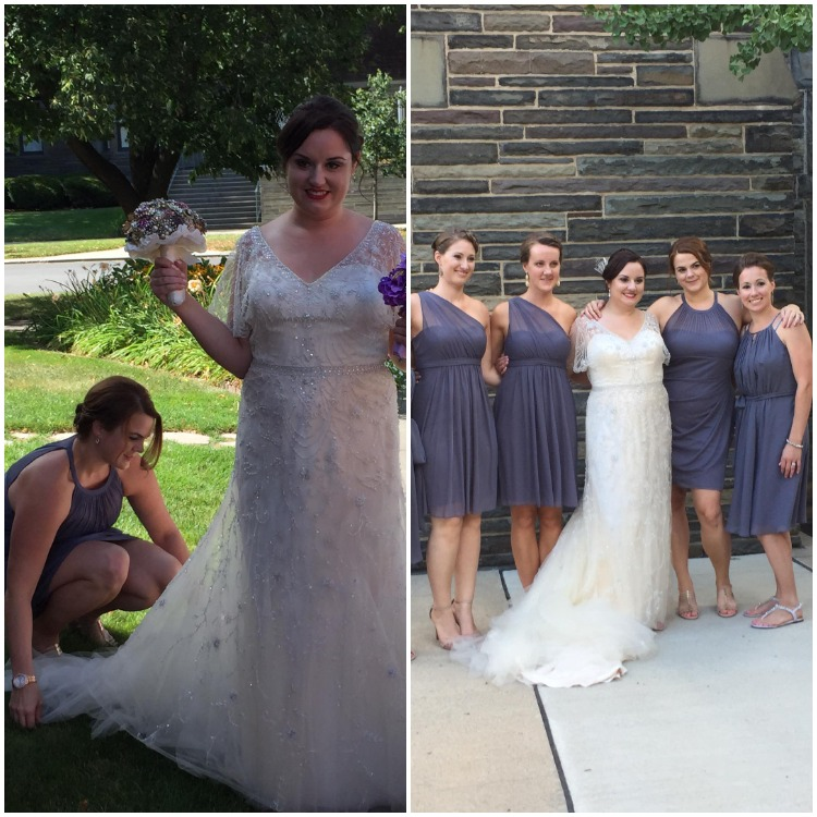 Bridesmaid Helping With Brides Dress - Bridesmaidsconfession.com