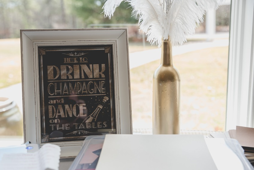 Drink champagne and dance on the tables. Great Gatsby Bridal Shower. Bridesmaidsconfession.com