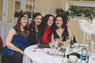 Bride and her guests. Great Gatsby Bridal Shower. Bridesmaidsconfession.com