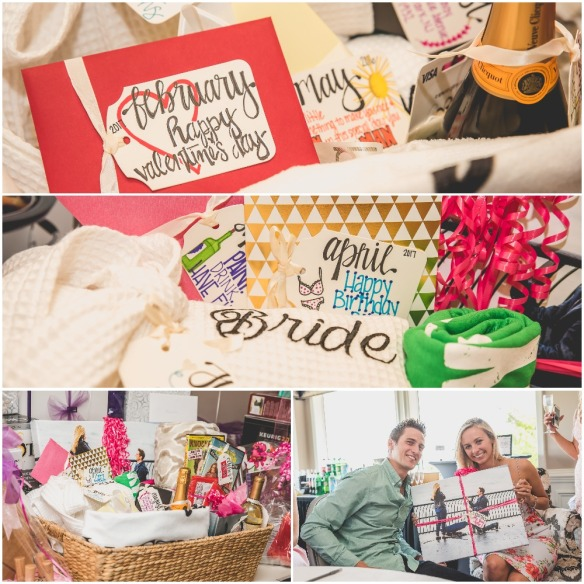 Basked for the bride from her bridesmaids containing a gift to use each month of the year after marriage. Pink, Gold, and White Bridal Shower. Nicole Klym Photography.
