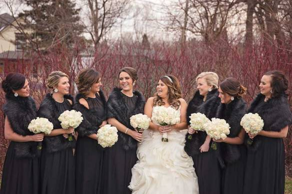 Bride and Bridesmaids in Black Shaws with White Flowers Shauna Wear Photography bridesmaidsconfession.com