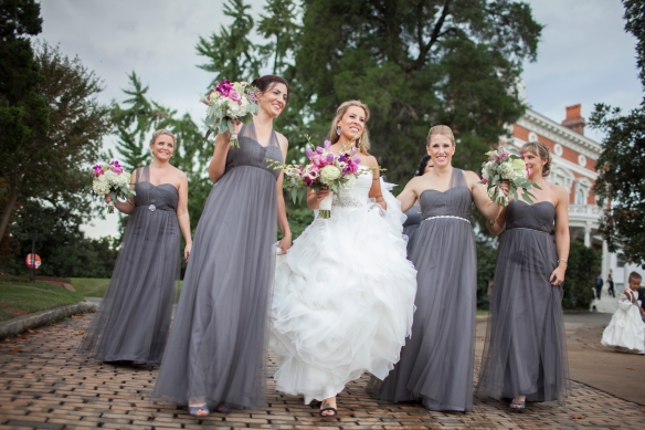 Bride and her Bridesmaids gray dresses #squadgoals Blair Bush Photography bridesmaidsconfession.com