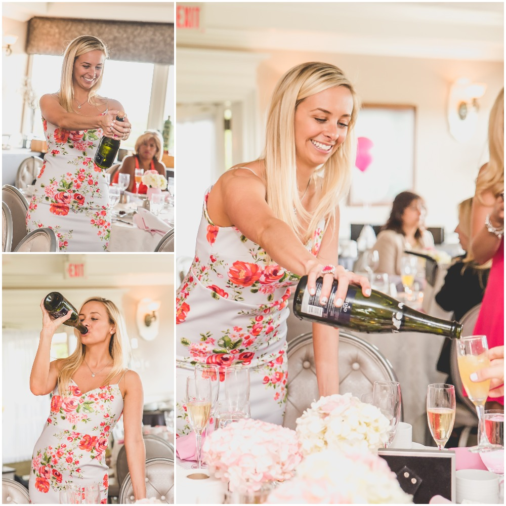 Bride Melissa pouring champagne and having fun. Pink, Gold, and White Bridal Shower. Nicole Klym Photography.
