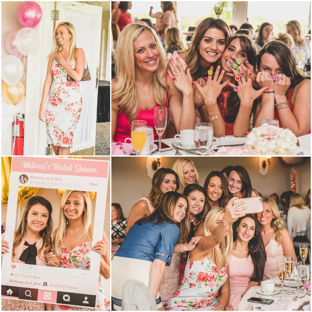 Bridesmaid selfies and instagram photo prop at Pink, Gold, and White Bridal Shower. Nicole Klym Photography.