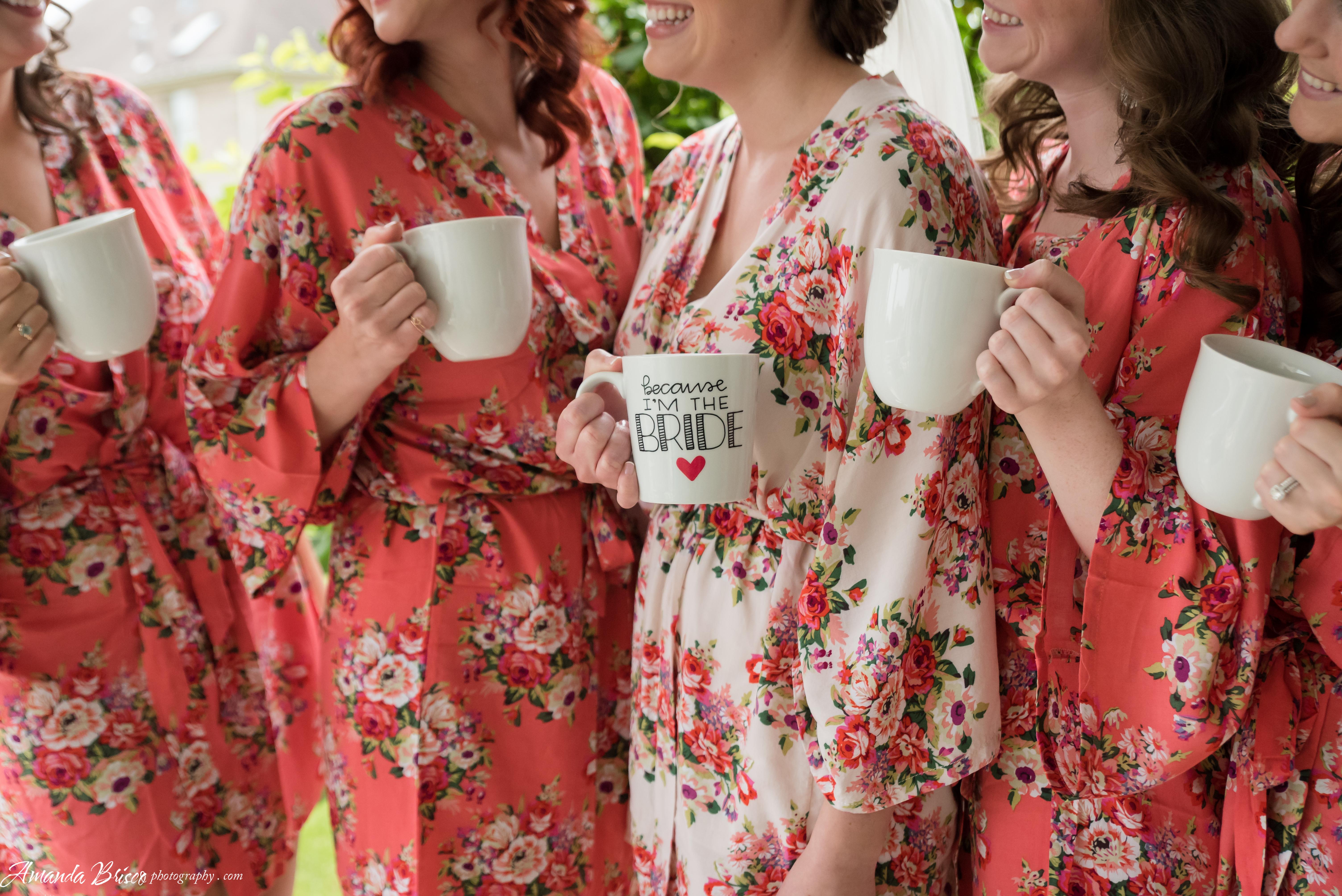 Bridesmaids with Floral Robes and I'm the Bride Mug Amanda Brisco Photography bridesmaidsconfession.com