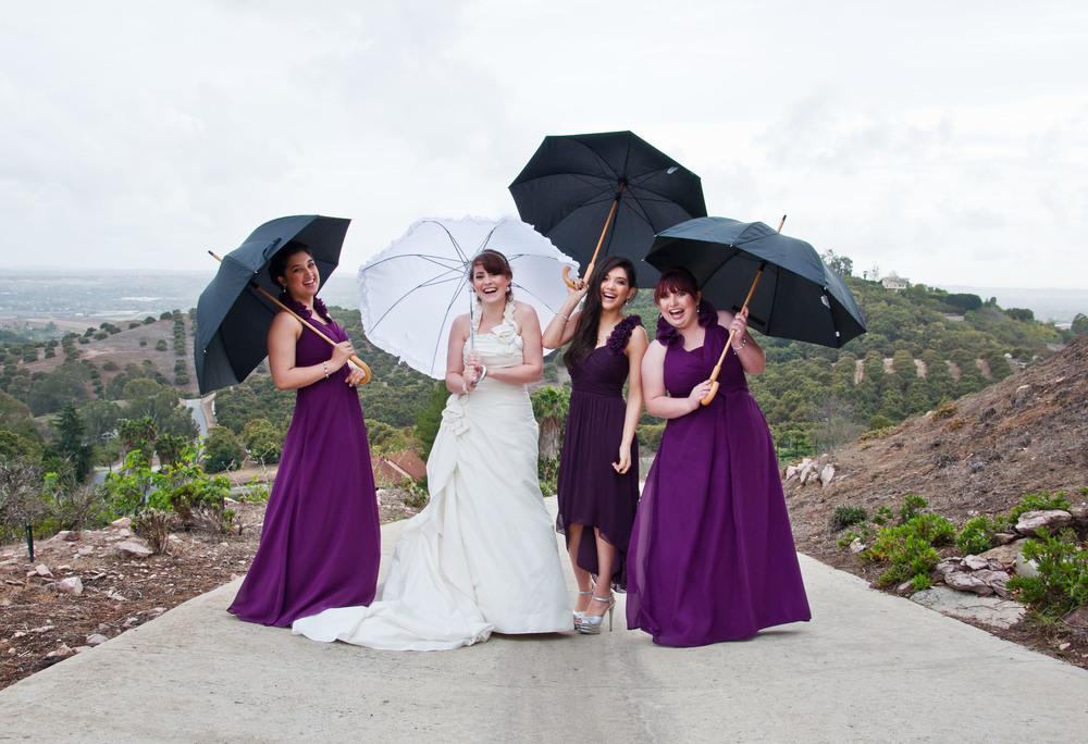 Bridesmaids with Umbrellas Julie Elizabeth Photography bridesmaidsconfession.com