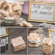 Build Jenga with memories game. Write your favorite memory of you and the bride on a jenga block. Pink, Gold, and White Bridal Shower. Nicole Klym Photography.
