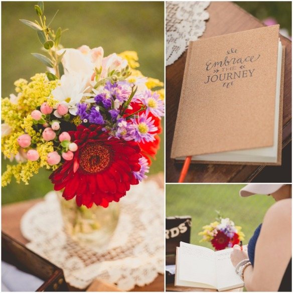 Embrace the journey guest book. Beautiful fully bloomed flowers in mason jars. Picnic Bridal Shower. Chris Sosa Photography. bridesmaidsconfession.com