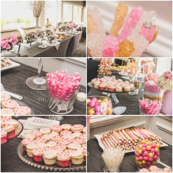 Food and dessert display for a Pink, Gold, and White Bridal Shower. Nicole Klym Photography.