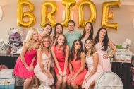 Large balloons spelling out bride in gold. Bridesmaids and fiance group shot. Pink, Gold, and White Bridal Shower. Nicole Klym Photography.