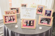 Meet the Maids Framed Photos at Bridal Shower. Pink, Gold, and White Bridal Shower. Nicole Klym Photography.