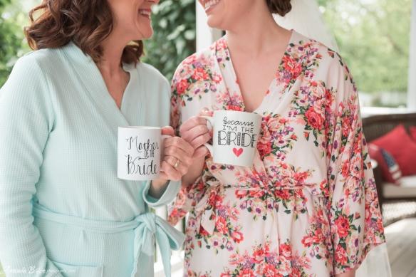 Mother of the Bride Mug and I'm the Bride Mug with Floral Robe Amanda Brisco Photography bridesmaidsconfession.com