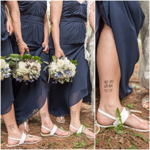 Shit Just Got Real Tattoo on Bridesmaids Ankle Kaitlin Noel Photography bridesmaidsconfession.com