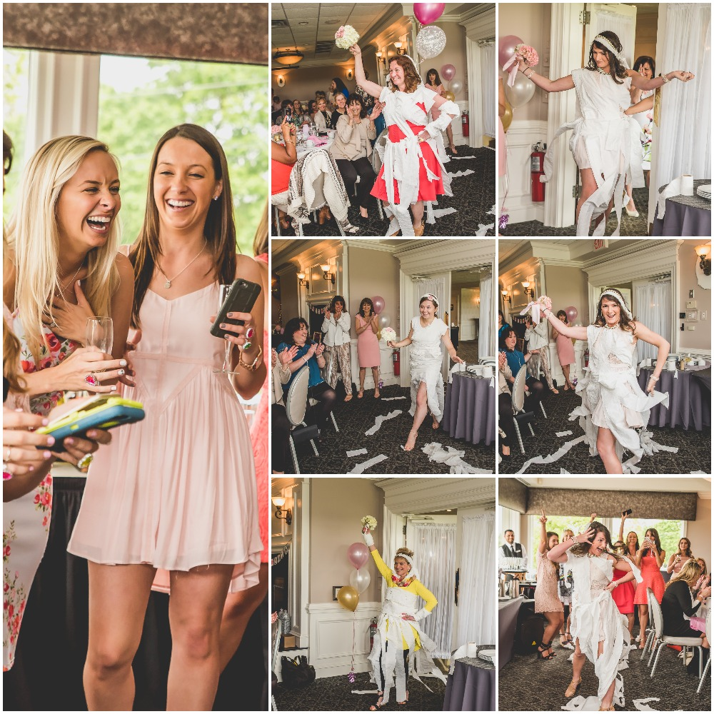 Toilet paper wedding dress fashion show. Pink, Gold, and White Bridal Shower. Nicole Klym Photography.