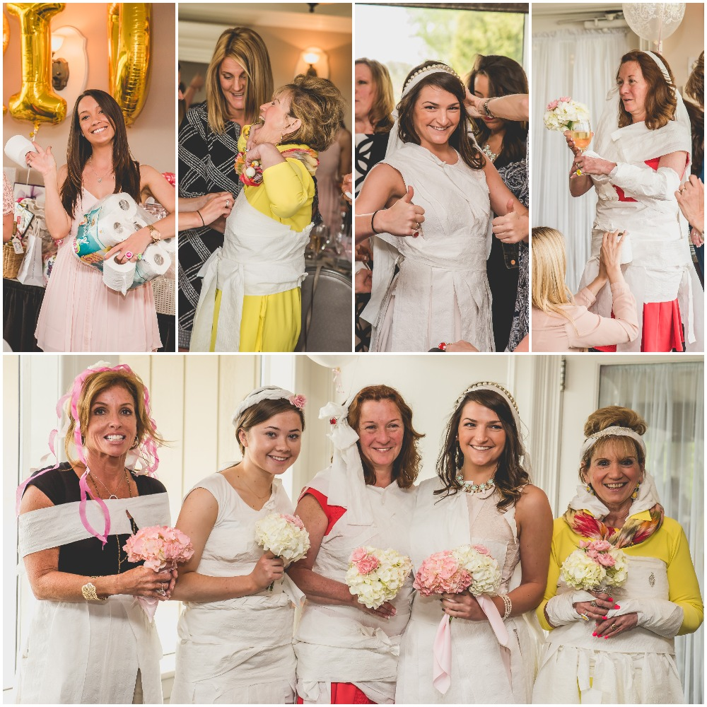 Toilet paper wedding dress game. Pink, Gold, and White Bridal Shower. Nicole Klym Photography.