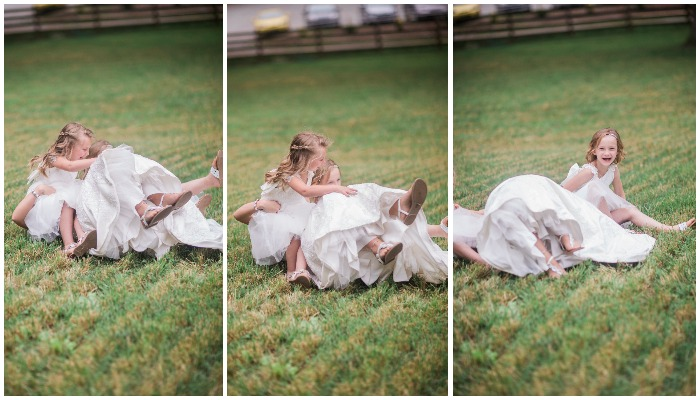 Bride knocked over by flower girls. Funny wedding photos. Courtney Cooke Photography. bridesmaidsconfession.com