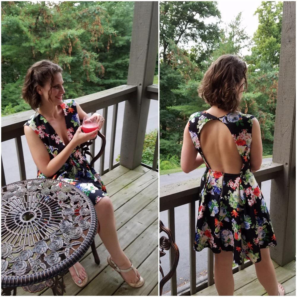 Floral open back dress with plunging neckline. Great Bachelorette Dress. Stay Fierce Boutique. bridesmaidsconfession.com