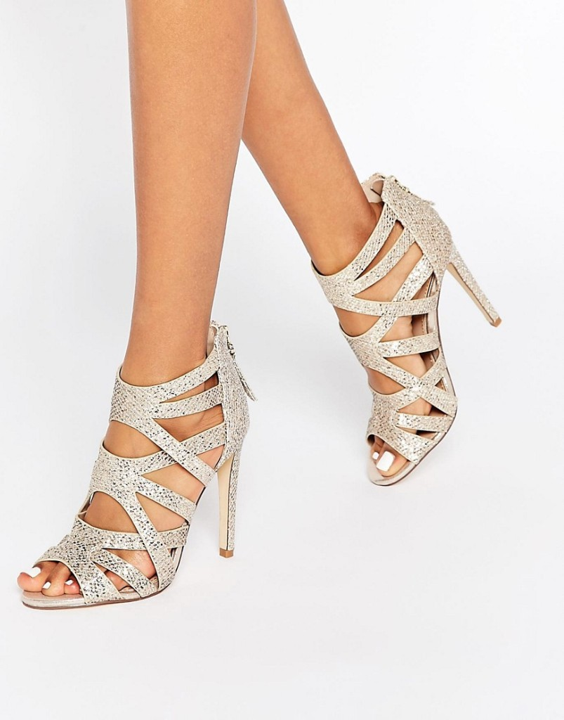 Lipsy Margot Gold Glitter Caged Heeled Sandals