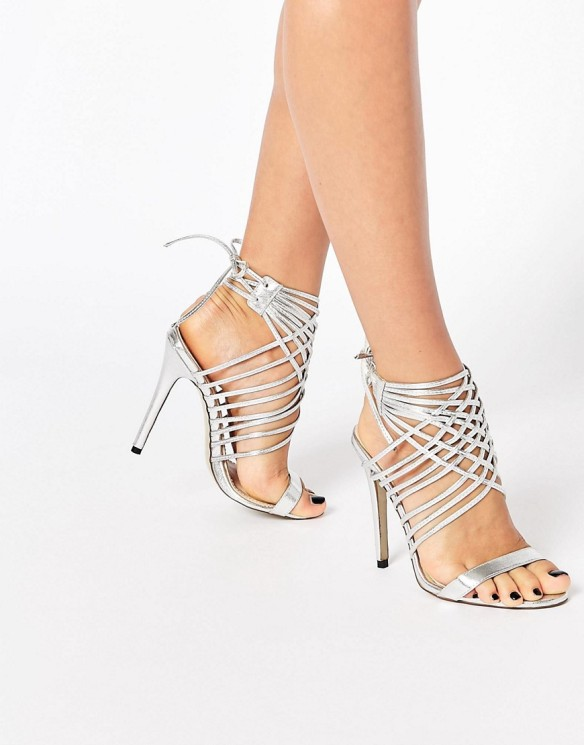 Public Desire Mona Strappy Heeled Sandals in Silver