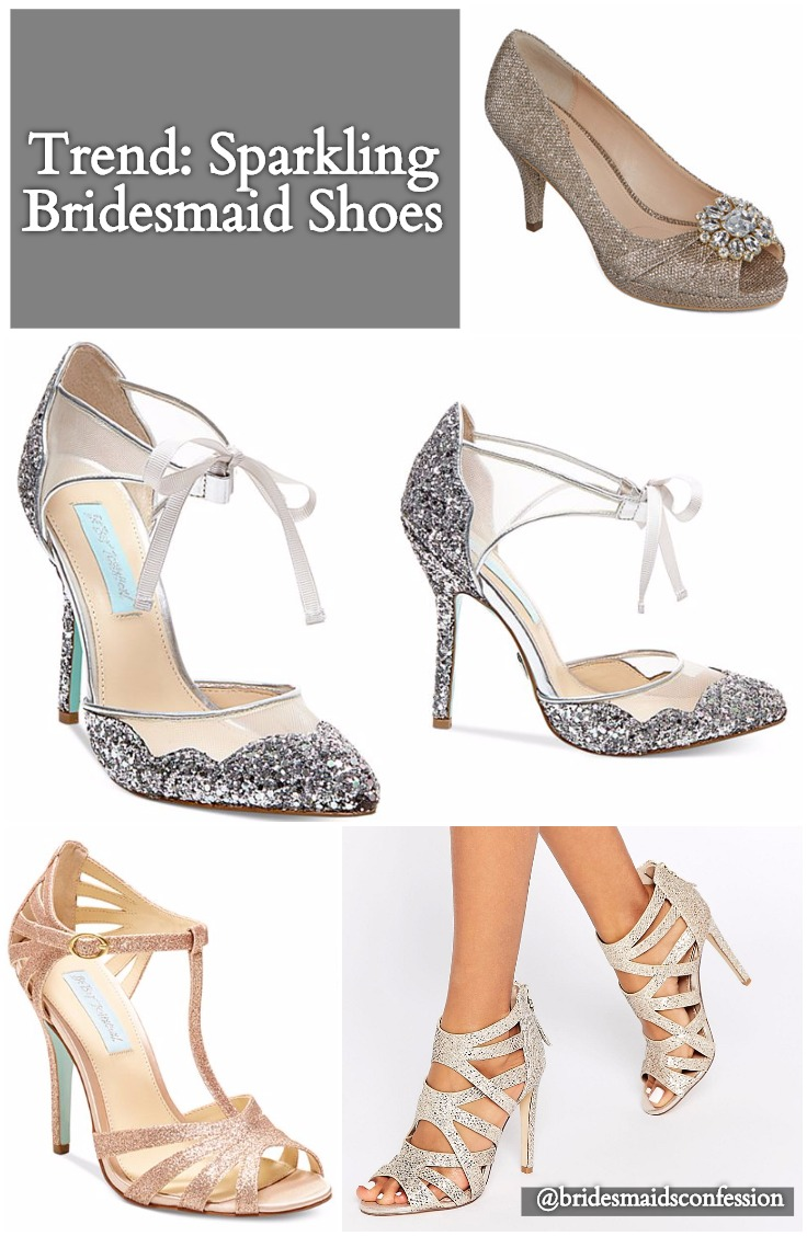 Trend Sparkling Bridesmaid Shoes. Betsey Johnson. Metallic, Silver, Pewter, Gold, Rose Gold. Peep Toe. Sparkles. Strappy Heel. Sandal. Platform Pumps.