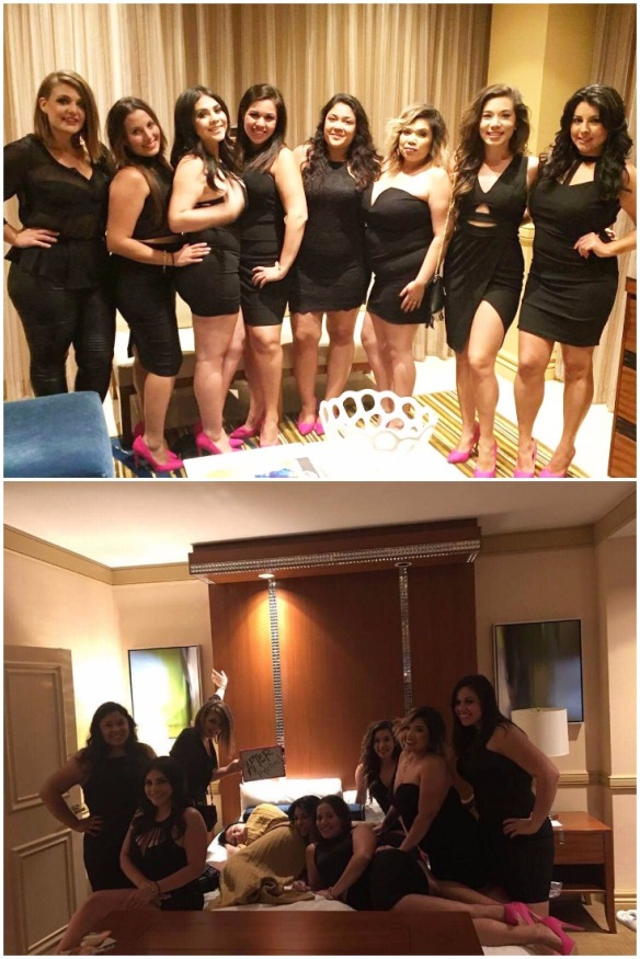 bridesmaids-dressed-up-to-go-out-in-black-dresses-and-pink-high-heels-bride-skipped-the-club-and-stayed-in-bed-from-too-much-day-drinking