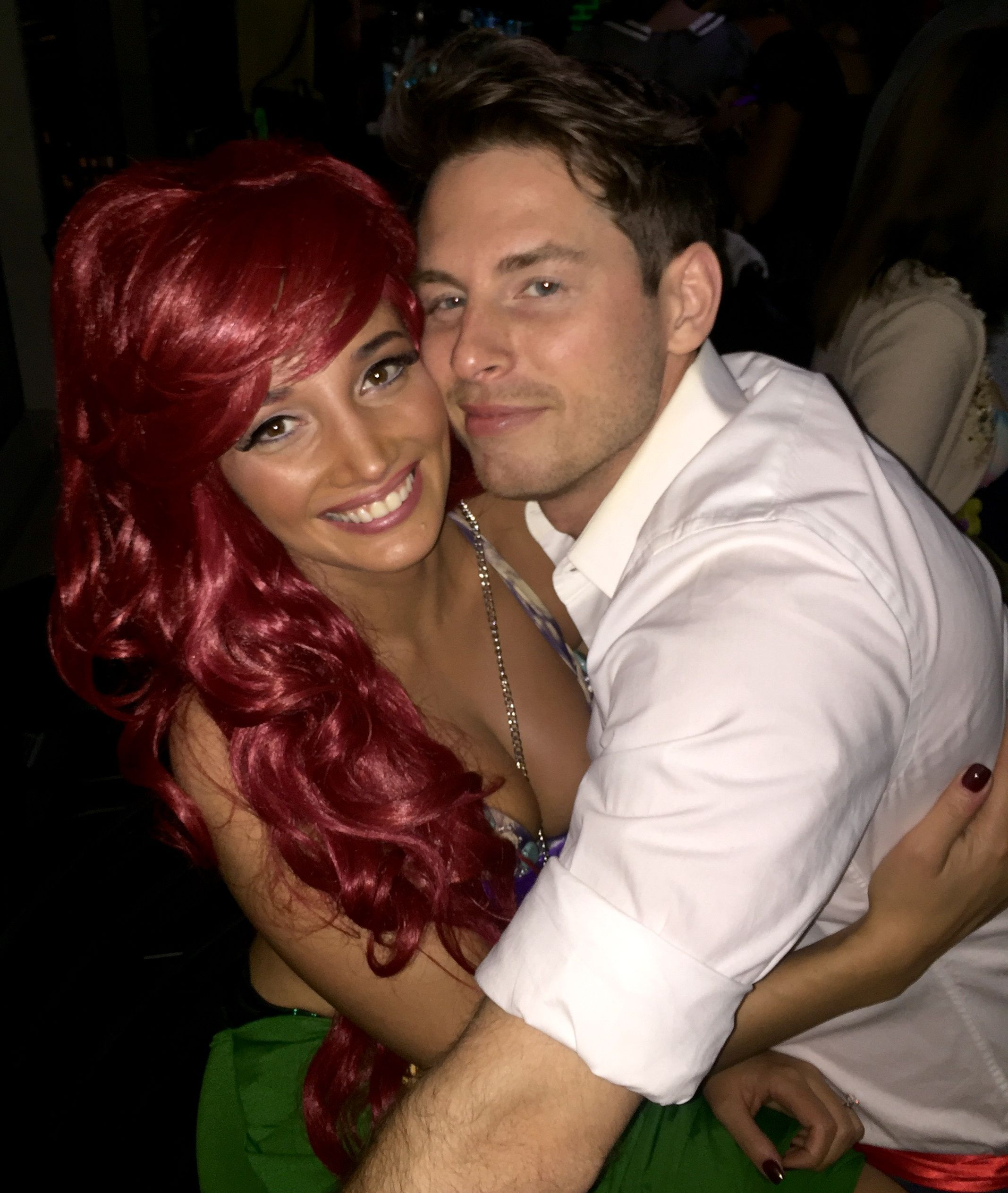 Ariel (bride) and Prince Eric (groom) at their joint bachelor and bachelorette party @disneybride2be bridesmaidsconfession