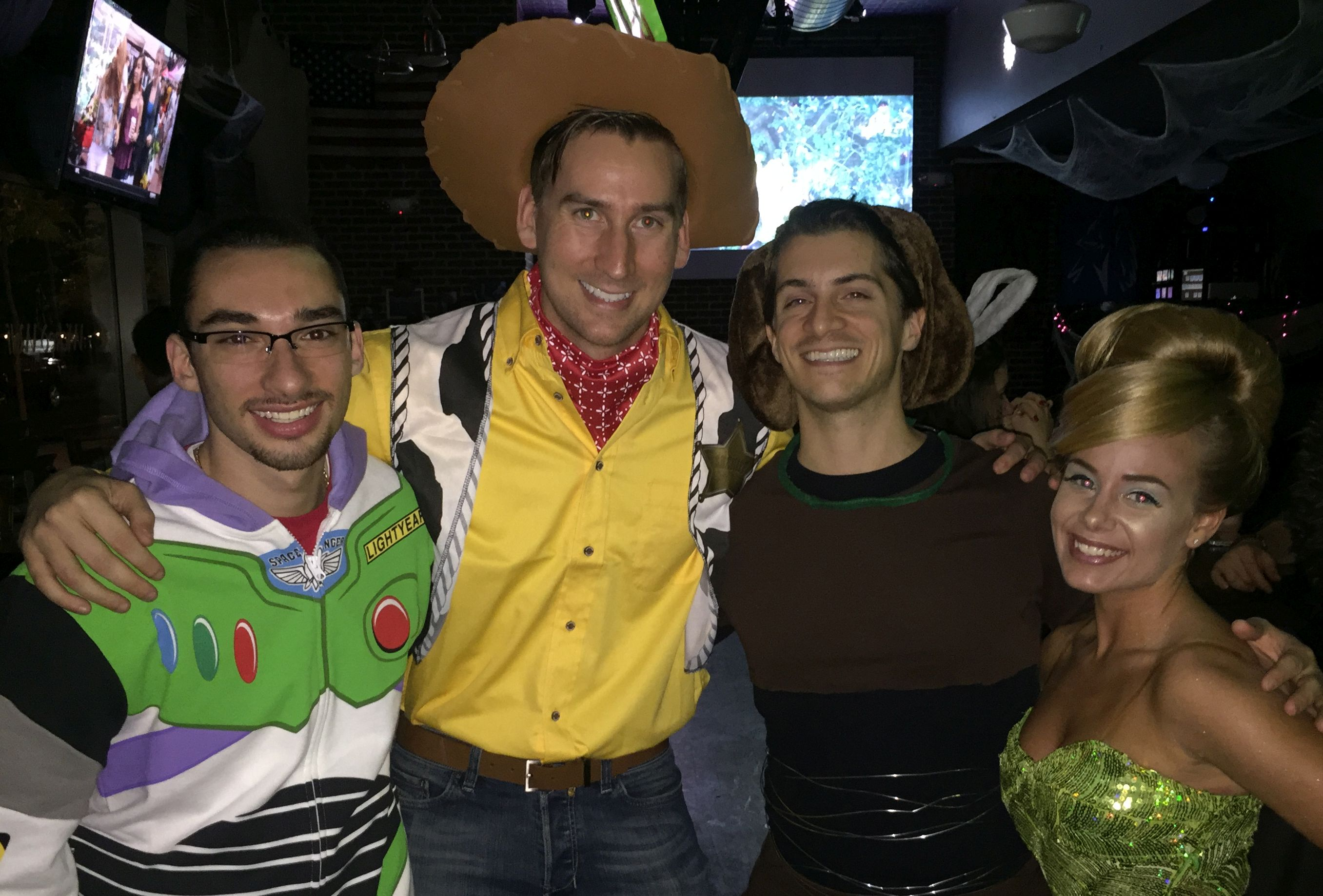 buzz, woody, slinky, tinkerbell at a disney themed joint bachelor and bachelorette party @disneybride2be