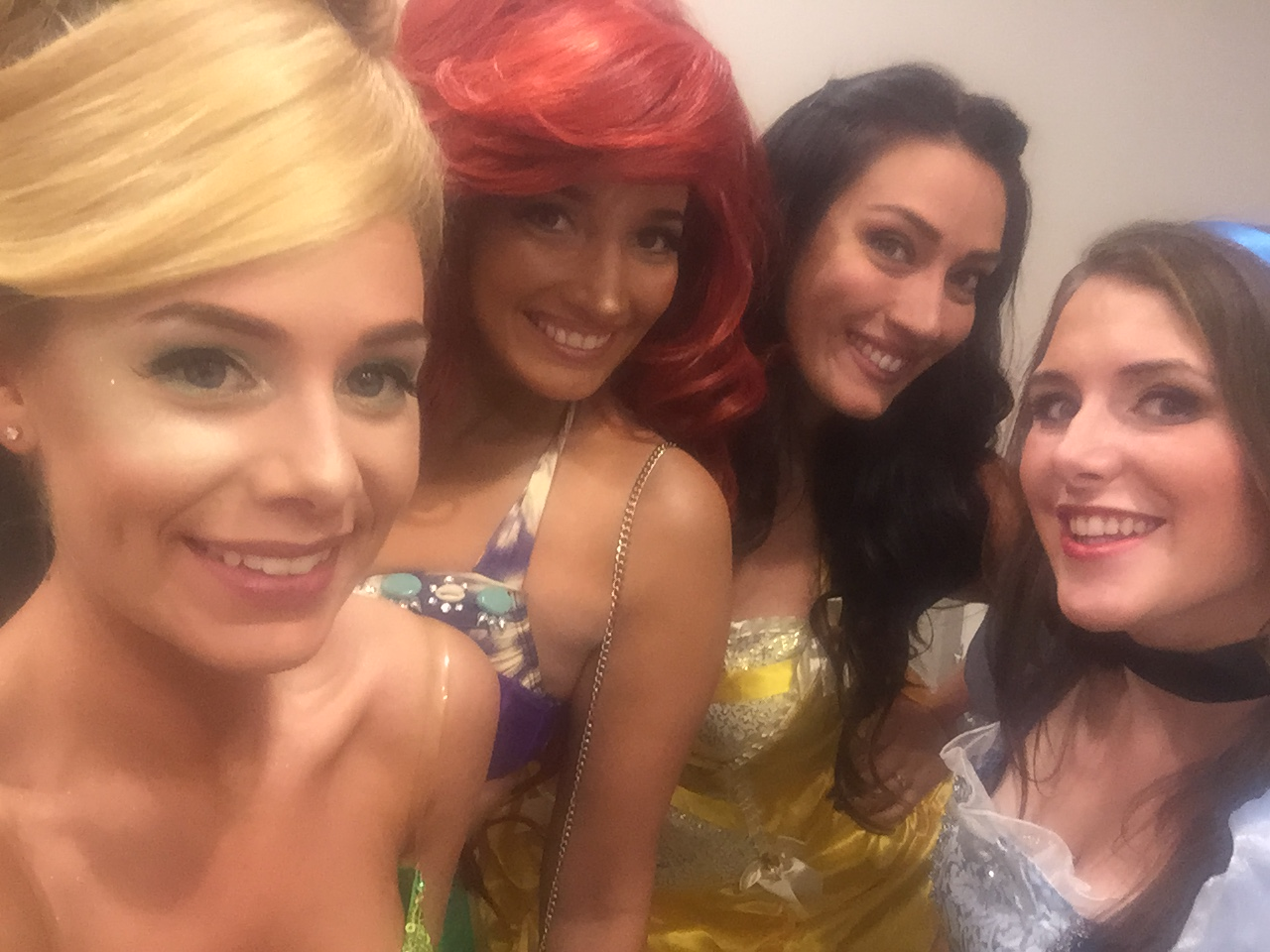Tinkerbell, Ariel, Belle, and Alice at a disney themed joint bachelor and bachelorette party @disneybride2be