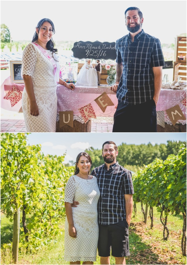 Bride and her fiance in front of their lifelike barbie and ken dolls at a vineyard bridal shower.