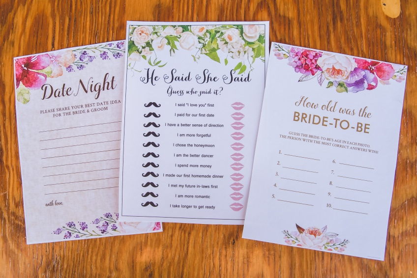 Popular bridal shower games. He said, she said. How old was the bride to be. Date night tips for the newlyweds.