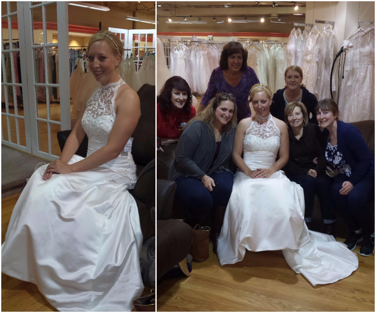 Happy bride-to-be in the dress she said yes to with the bridal party.