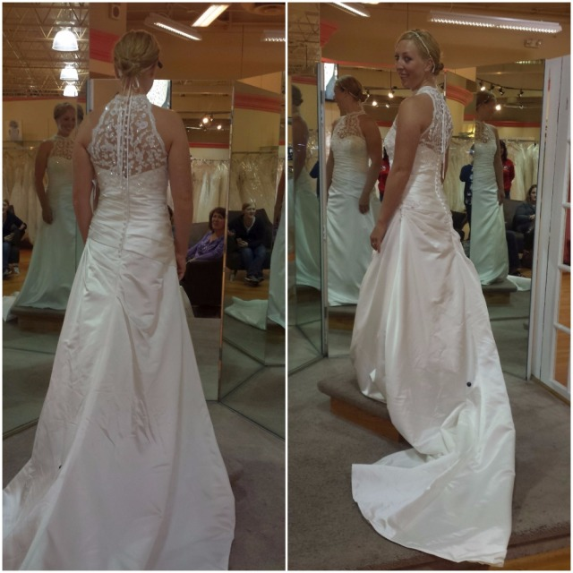 Tying on wedding dresses. She said yes to this dress!