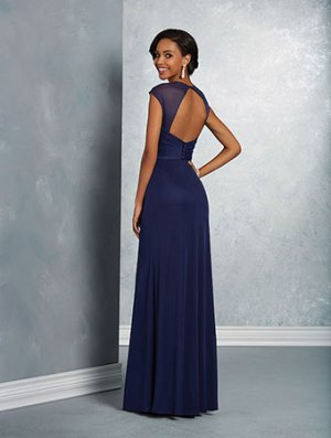 Alfred Angelo 7412 features a beautiful cut-out back detail in sheer over draped surplice bodice.
