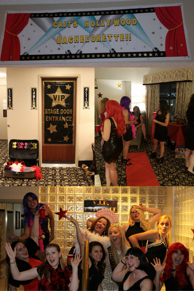 Hollywood themed bachelorette party in suite at the Claridge Hotel in Atlantic City.