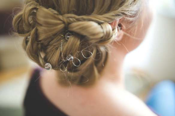 Hairstyle for bridesmaid at a wedding.