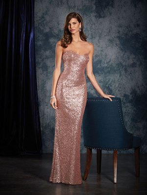 Rose-sequined 8120L gown from the Alfred Angelo 2017 bridesmaids dress collection. Features sweetheart neckline and fit and flare silhouette.