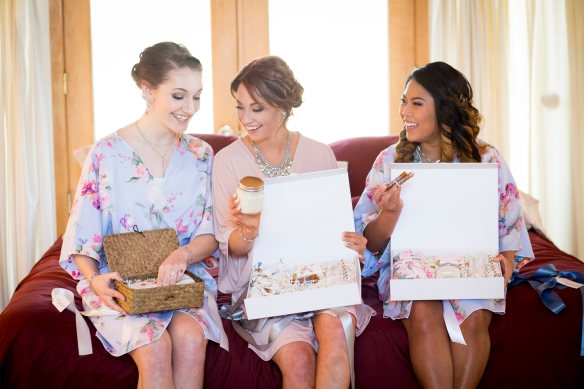Bride and Bridesmaid Opening Gifts