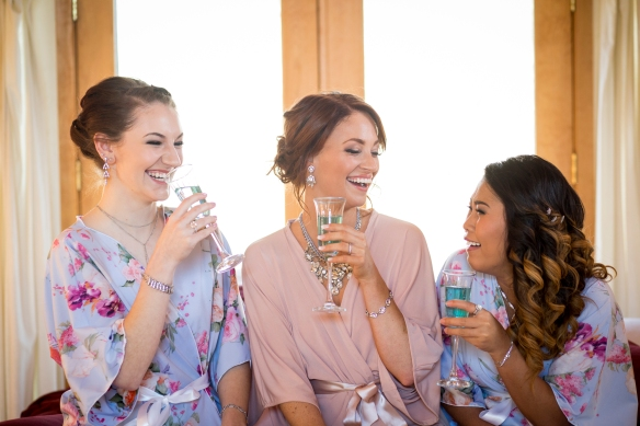 Golden Oaks Farm Styled Shoot Bride and Bridesmaids Cheers