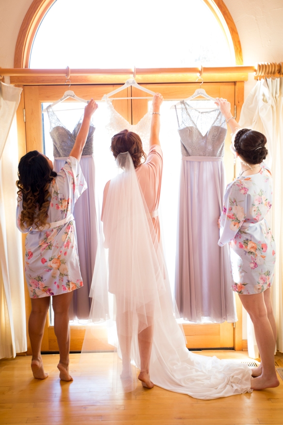 Golden Oak Farms Bridesmaids and Bride Hanging Dresses.