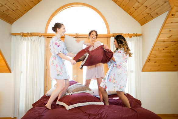 Golden Oaks Farm Styled Shoot Bridesmaids Jumping on the Bed